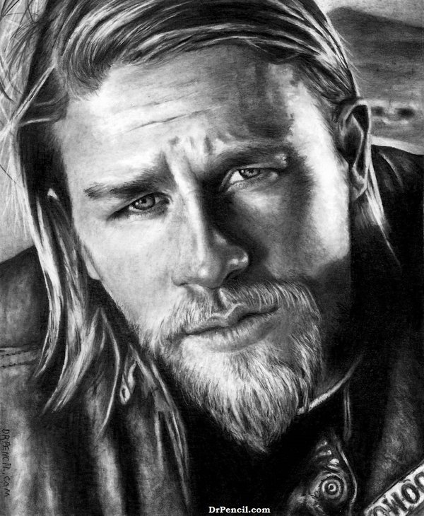 Charlie Hunnam as Jax Teller   Sons of Anarchy by Doctor Pencil on 600x730
