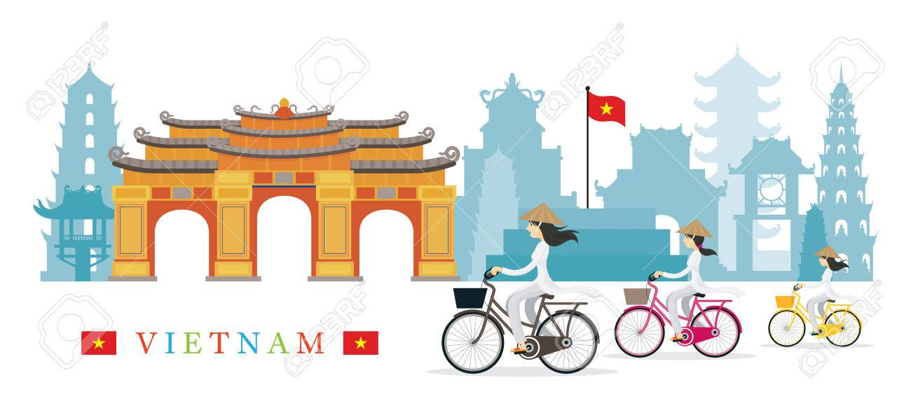 Vietnamese Women With Conical Hat Ride Bicycles Landmarks 1300x596