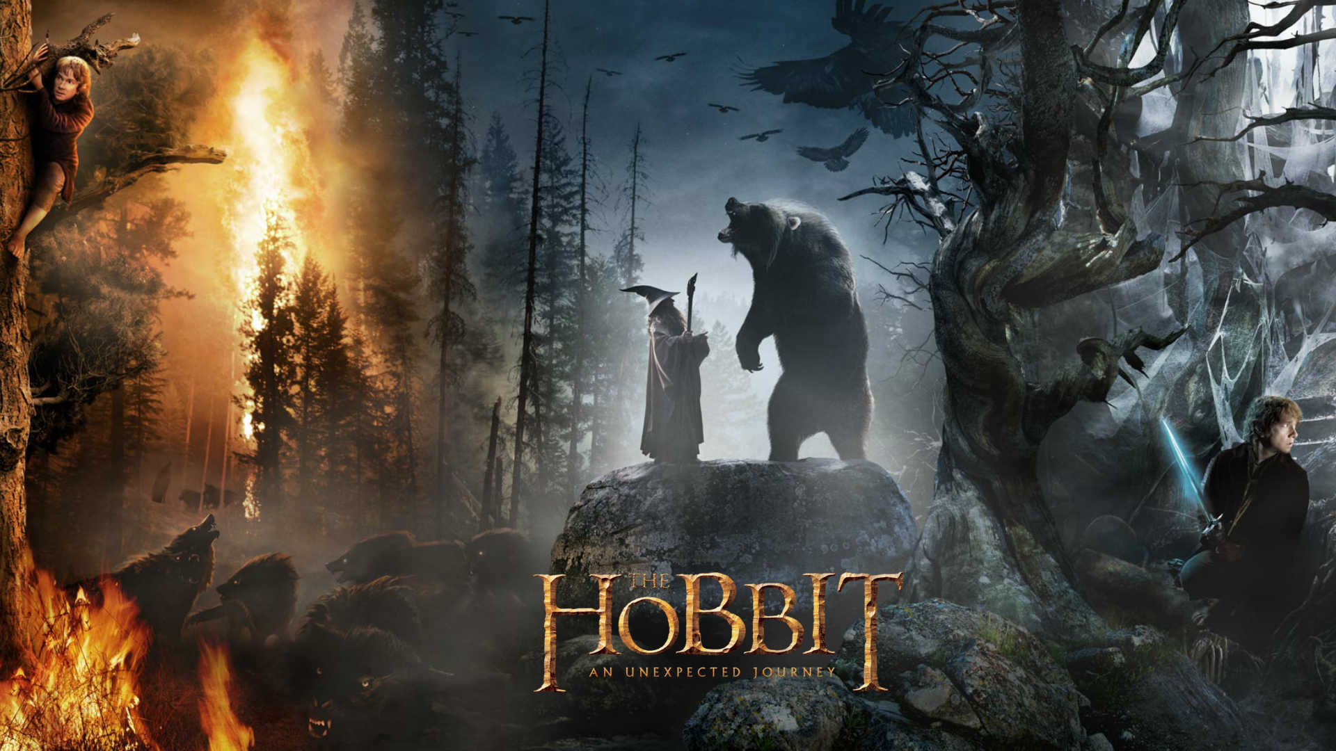 1920x1080 The Hobbit Gandalf and bear desktop PC and Mac wallpaper 1920x1080