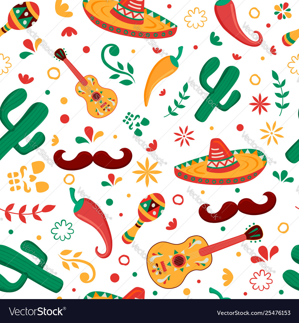 Mexican party icon seamless pattern background Vector Image 1000x1080