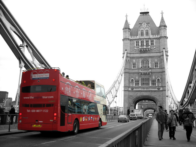 London Bus on London Bridge Black and white with Color Photo 640x480