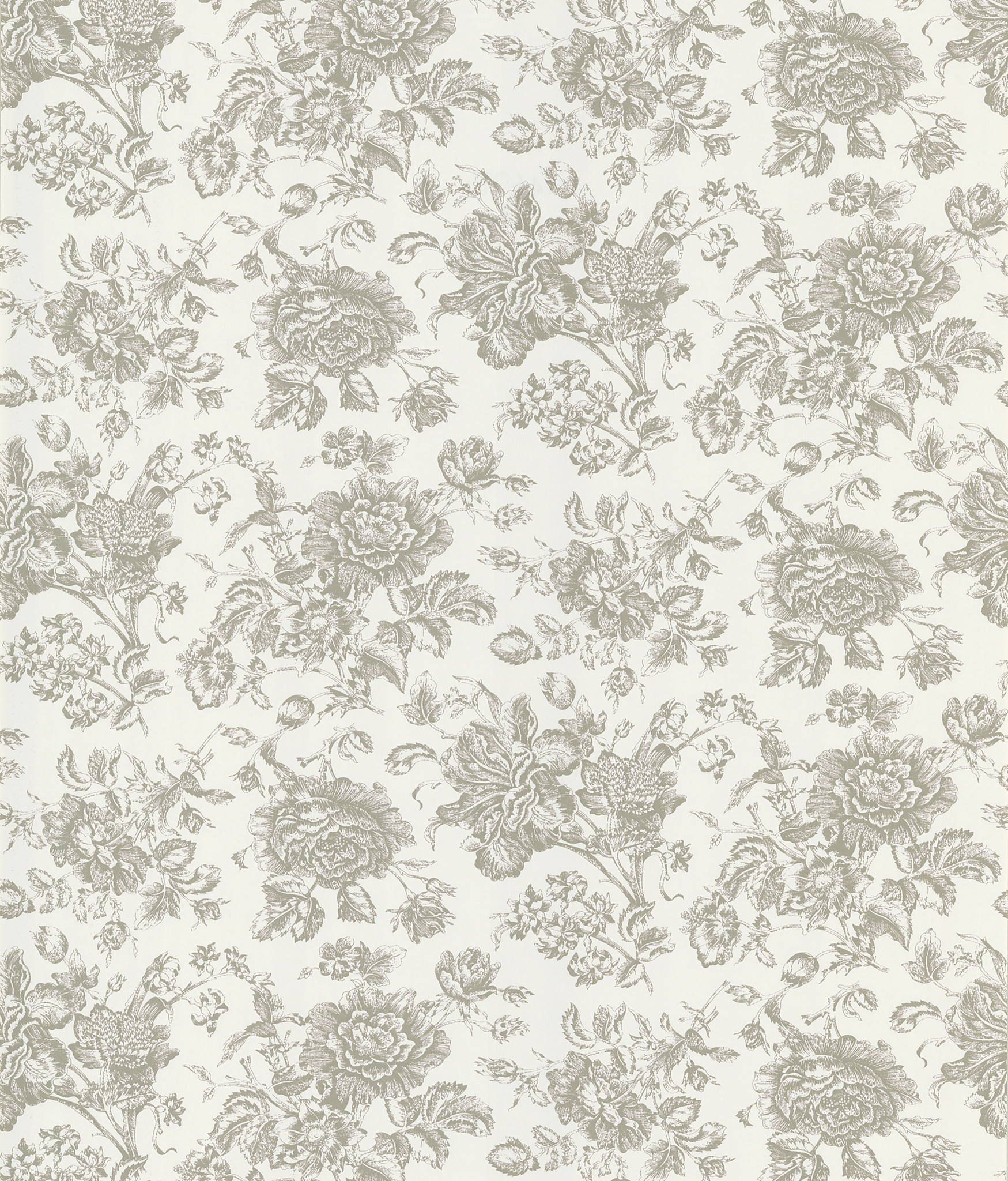 Pavot Floral Toile Wallpaper in White by Brewster Home Fashions 1749x2048