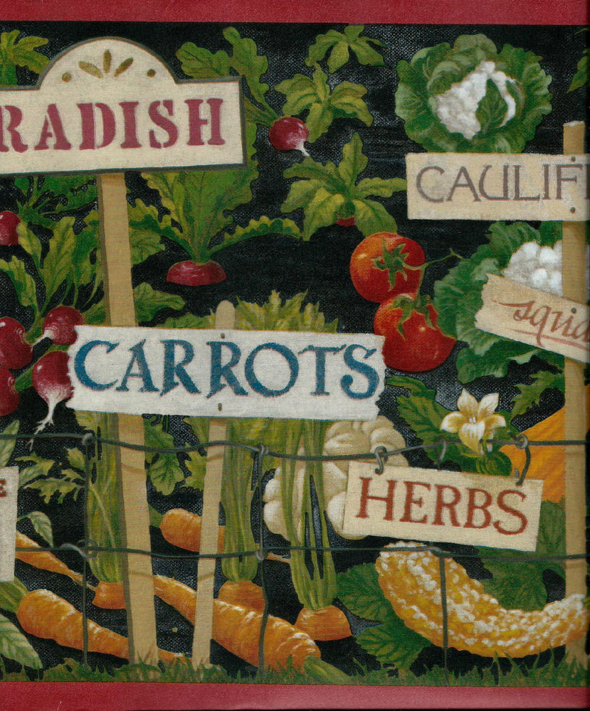 Vegetable and Herb Garden on Black with Red Trim Wallpaper Border 829x1000