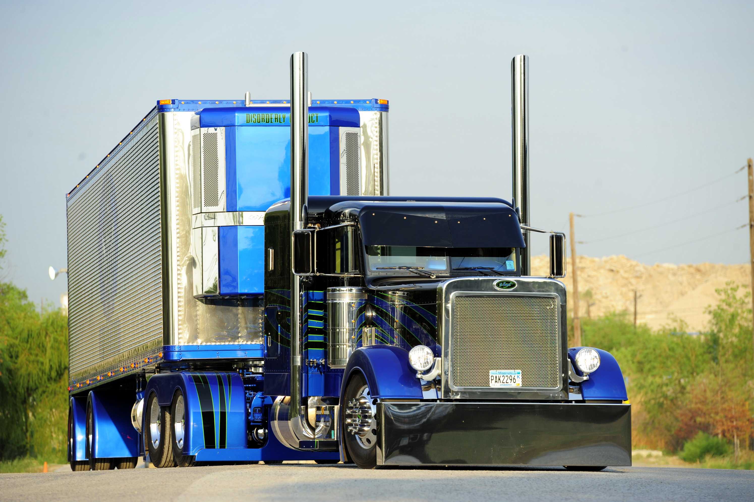 tractor trailer semi custom roads tuning wallpaper background 2990x1990