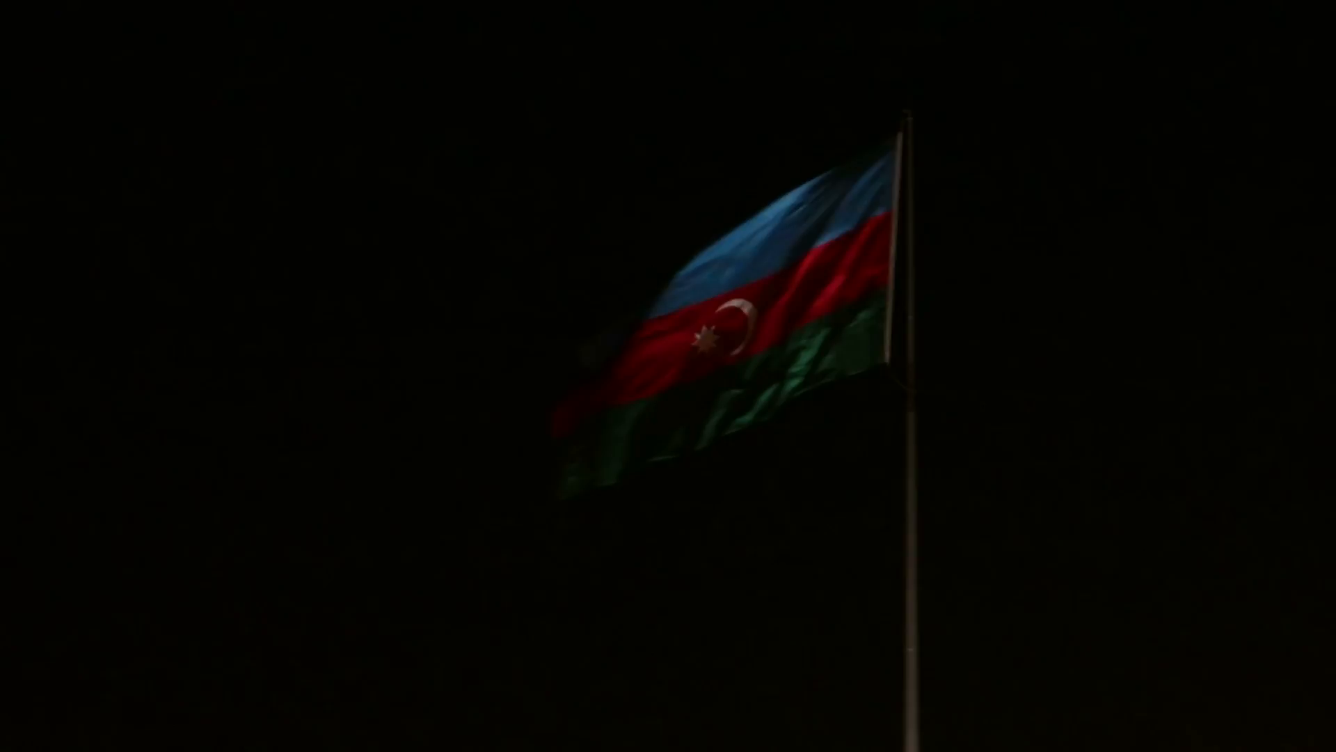 Baku night view with Azerbaijan flag Stock Video Footage 1920x1080