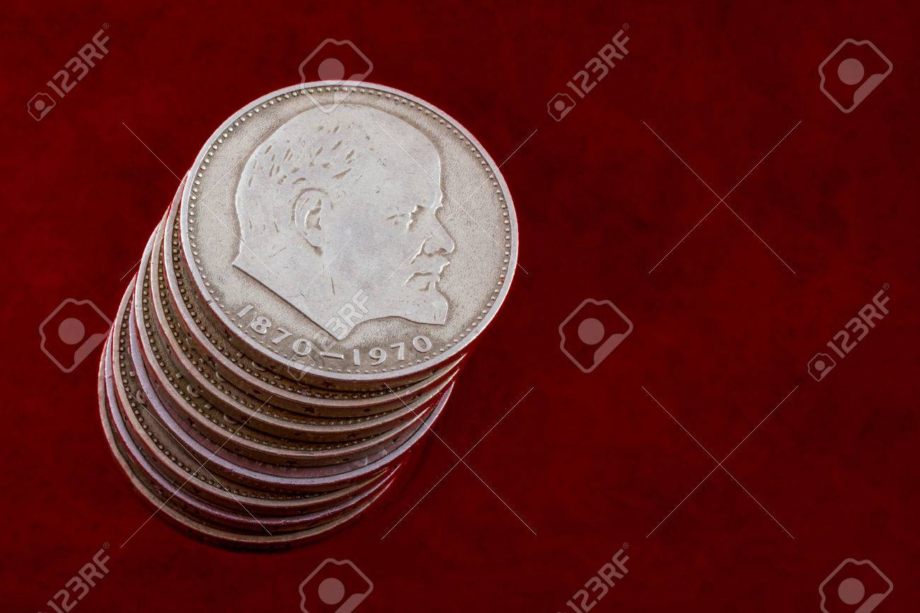 Stack Of Coins With A Portrait Of Lenin On A Red Background Of 1300x866