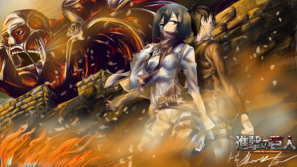 Eren and Misaka Attack on Titan Wallpaper by xAnacondax 1191x670