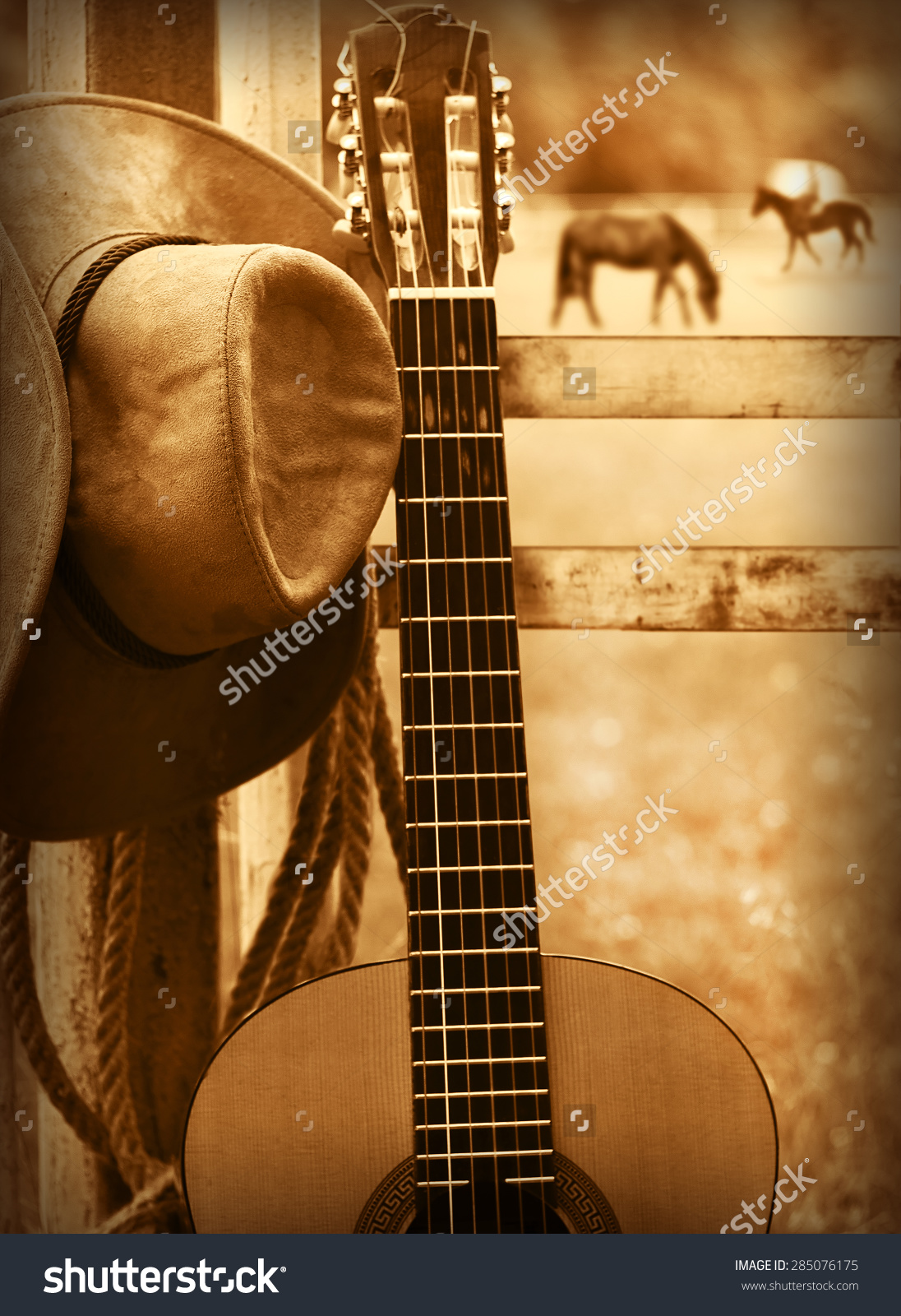 American Country Music Background With Cowboy Hat And Guitar Stock 1096x1600