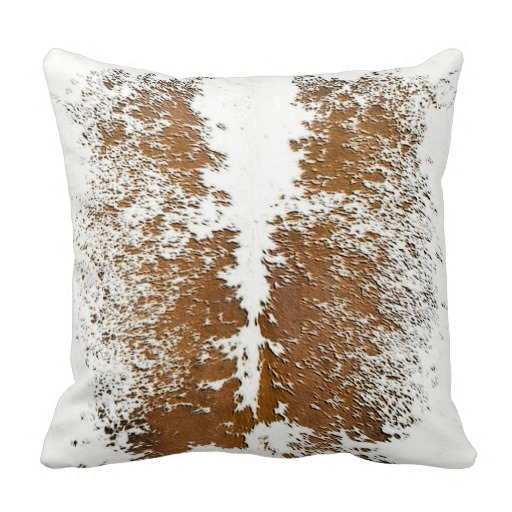 South West Style Cowhide Light Browns and White Throw Pillow 512x512