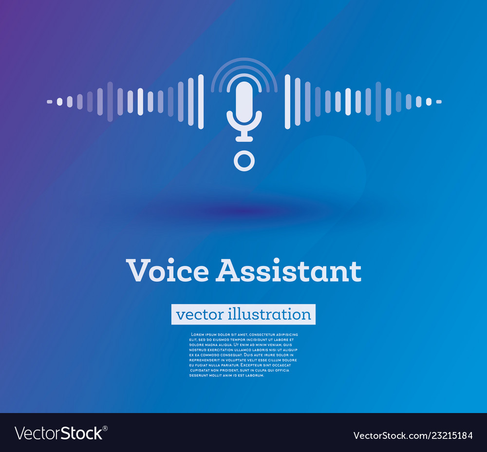 Personal voice assistant sign on blue background Vector Image 1000x928