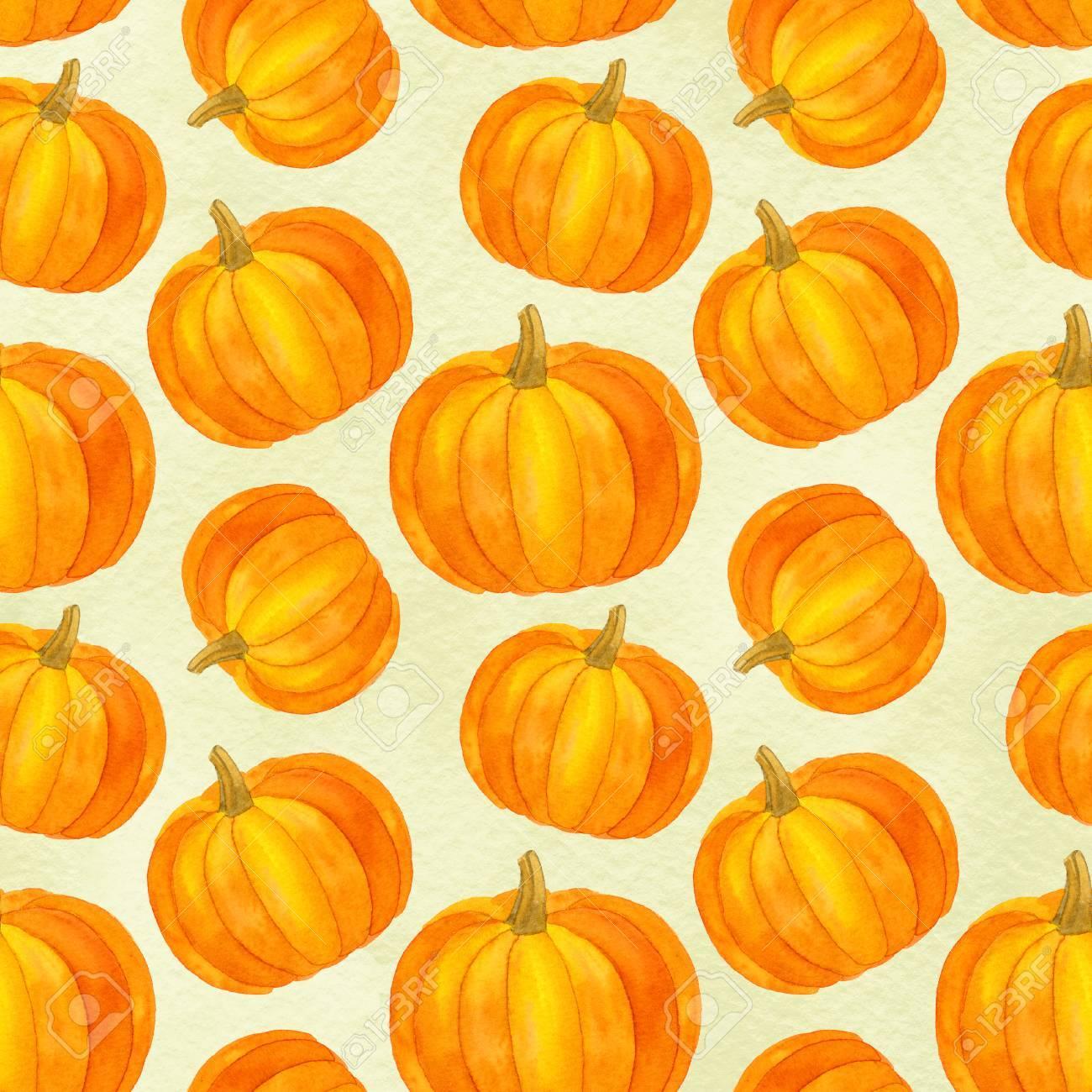 Pumpkin Seamless Pattern Fall Harvest Watercolor Thanksgiving 1300x1300