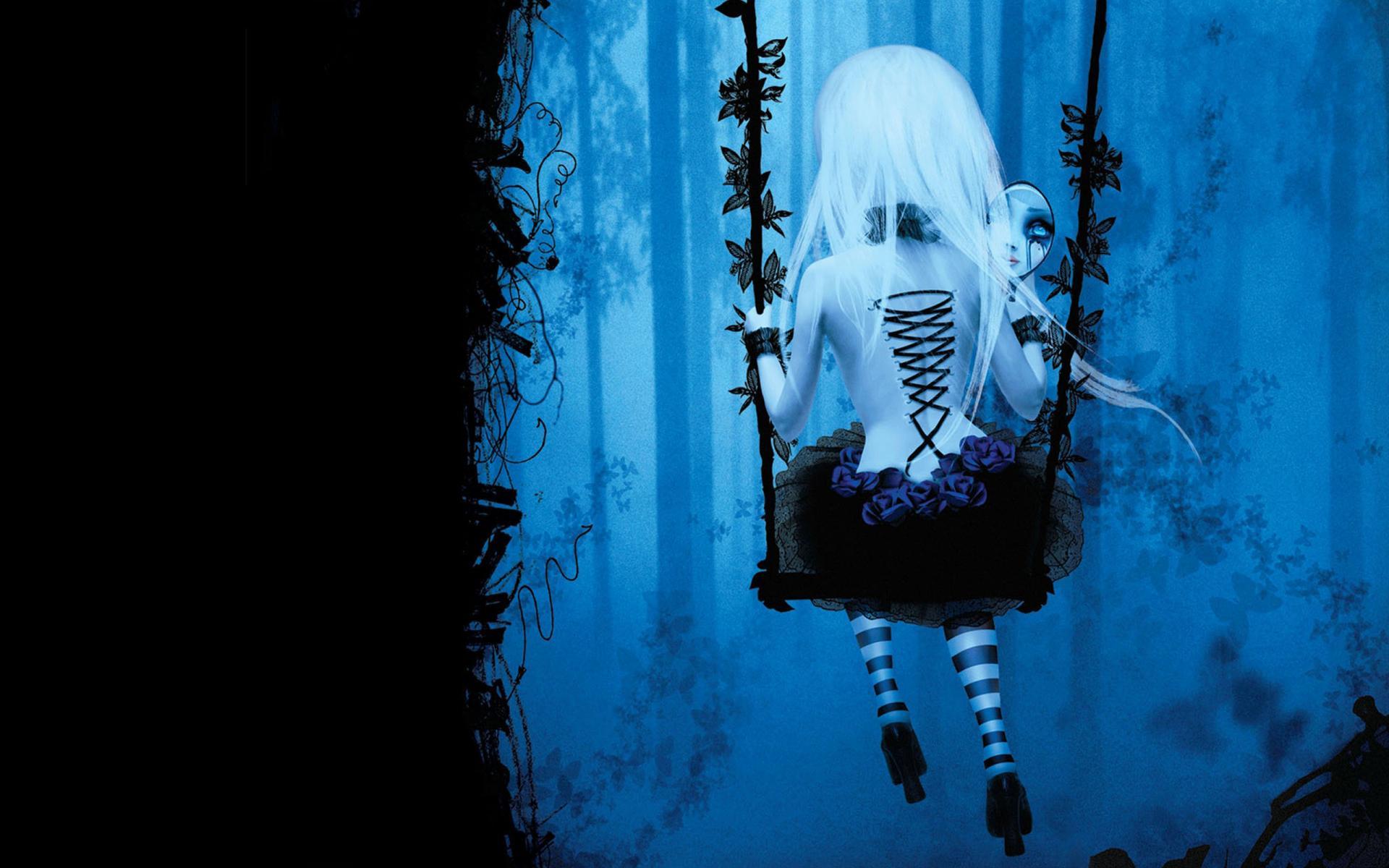 Dark gothic anime fantasy trees fog mood girl women swing wallpaper 1920x1200