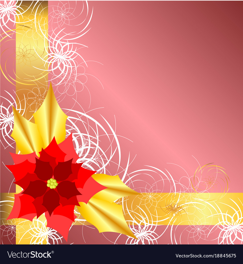 Golden pink background with poinsettia Royalty Vector 996x1080