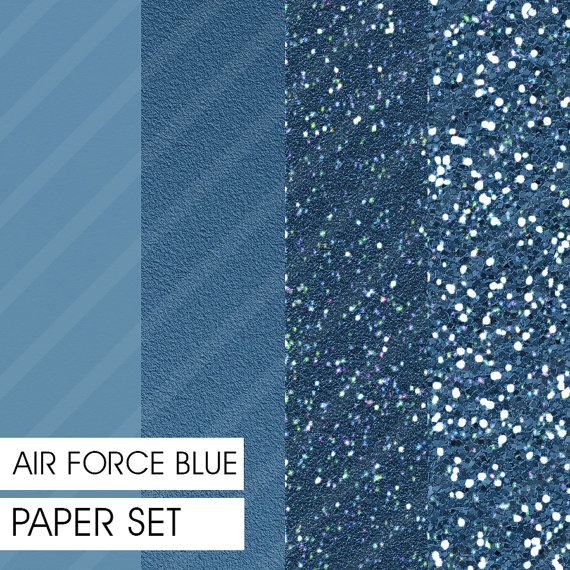 Glitter&Plain PAPER set Air Force Blue 4 different pre-made pages ...