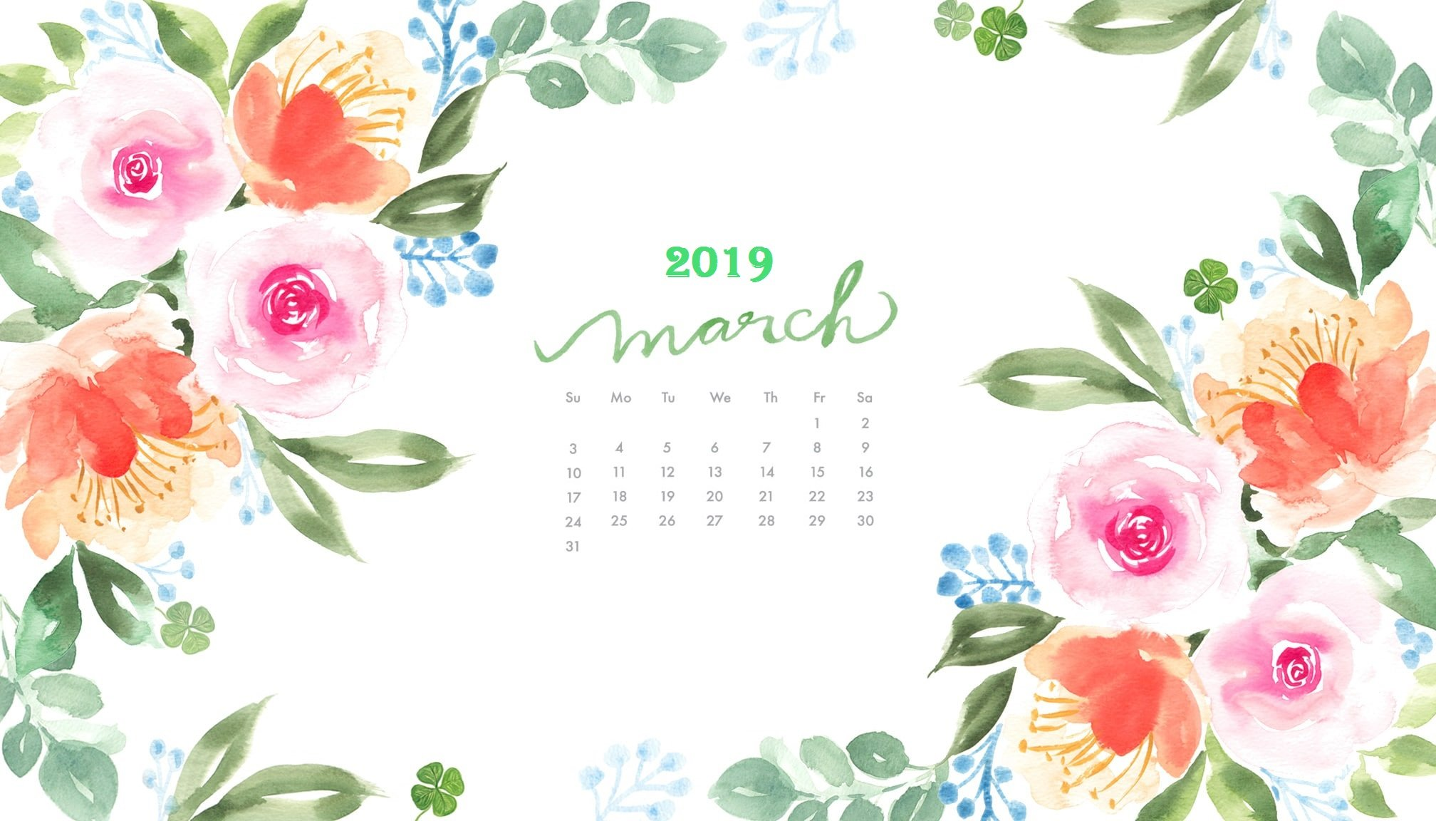 Blank Calendar For March 2019 Printable with Holidays Template Blank 2016x1152