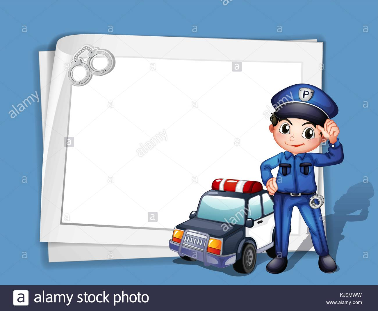 Illustration of a policeman beside a police car on a blue 1300x1069