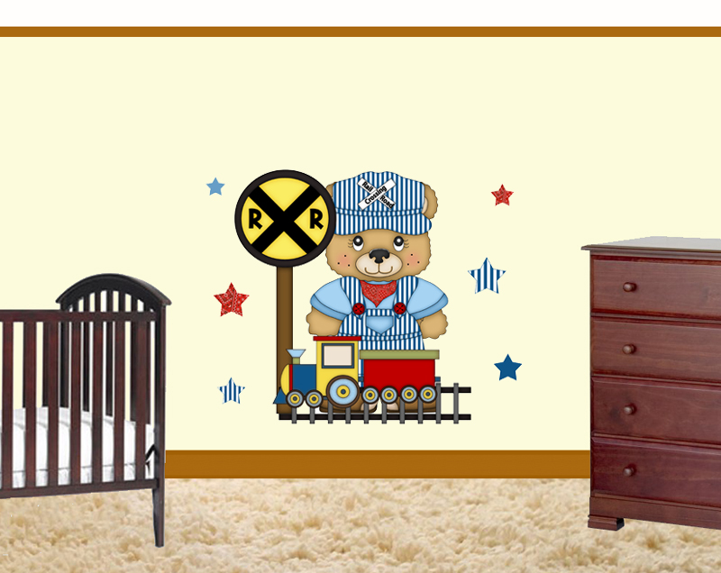 Details about Bear Train Wallpaper Border Decals Baby Boy Nursery Kids 800x636