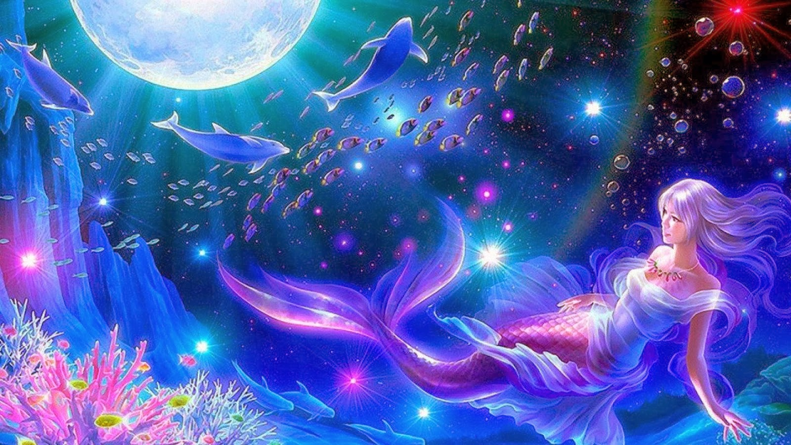 All new wallpaper Mermaid moon fantasy widescreen hd wallpaper 1600x900