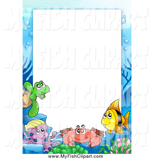 Clip Art of a Border of Sea Creatures Around White Space by visekart 600x620