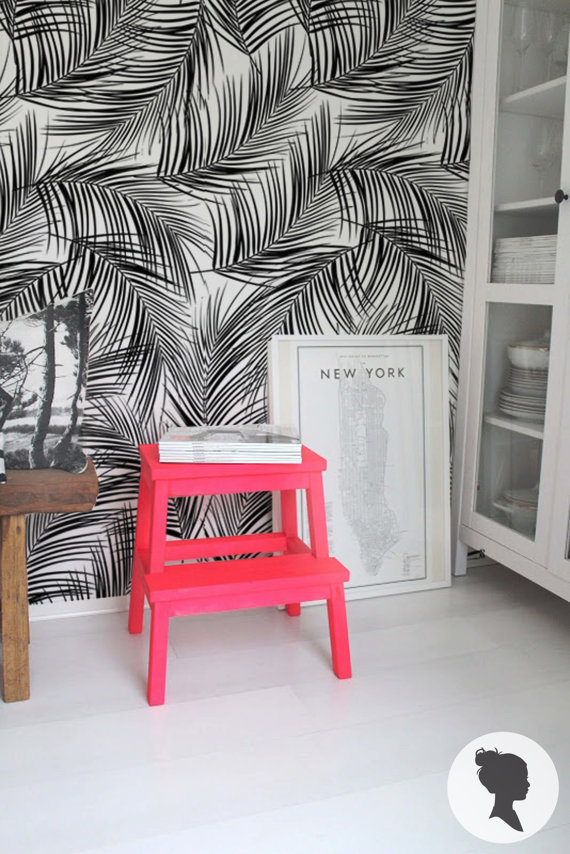Palm Leaves Pattern Peel and Stick Removable Wallpaper by Livettes 570x854