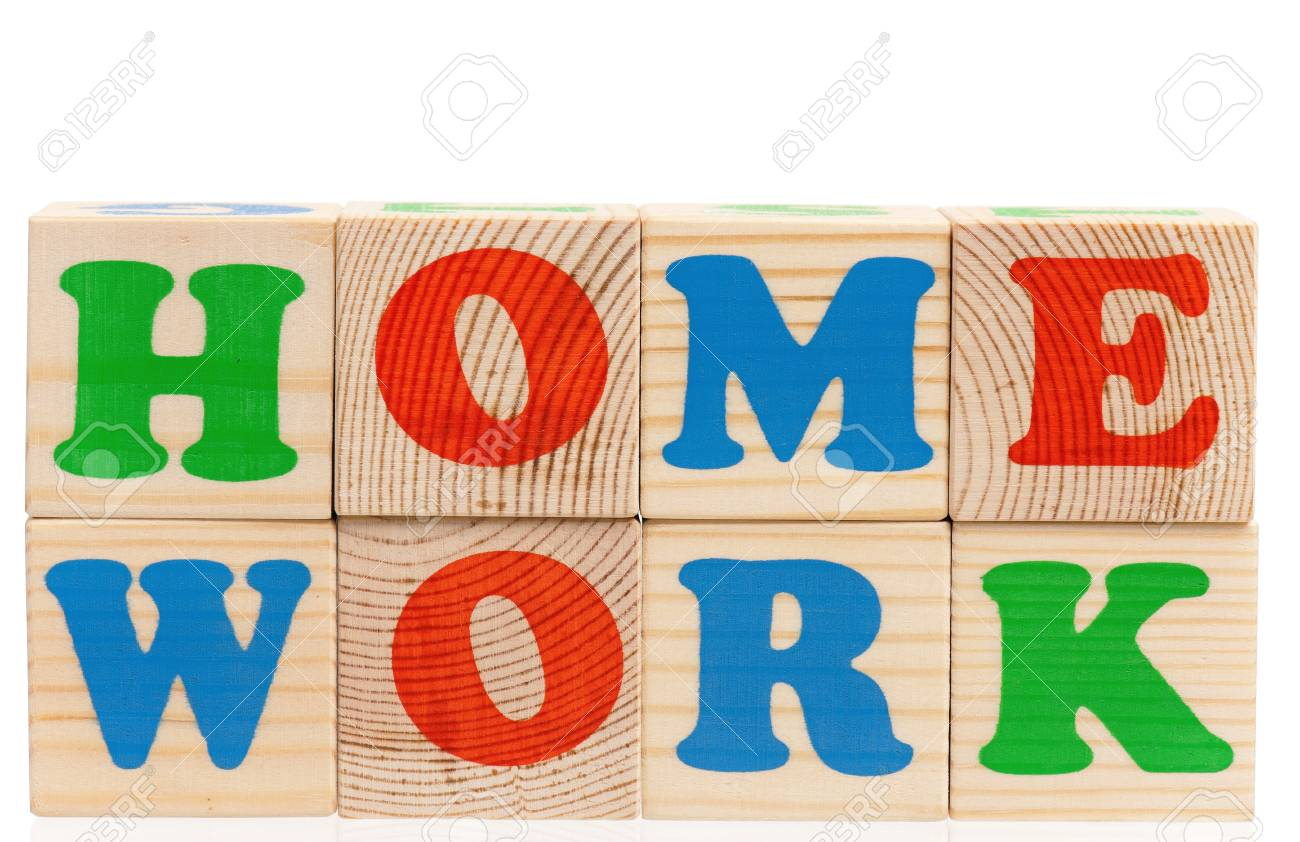 Toy Letters That Spell Homework Against A White Background Stock 1300x842