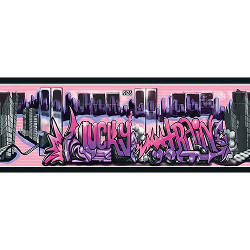 Graffiti Lucky Train Wallpaper Border PurplePink   Walmartcom 500x500