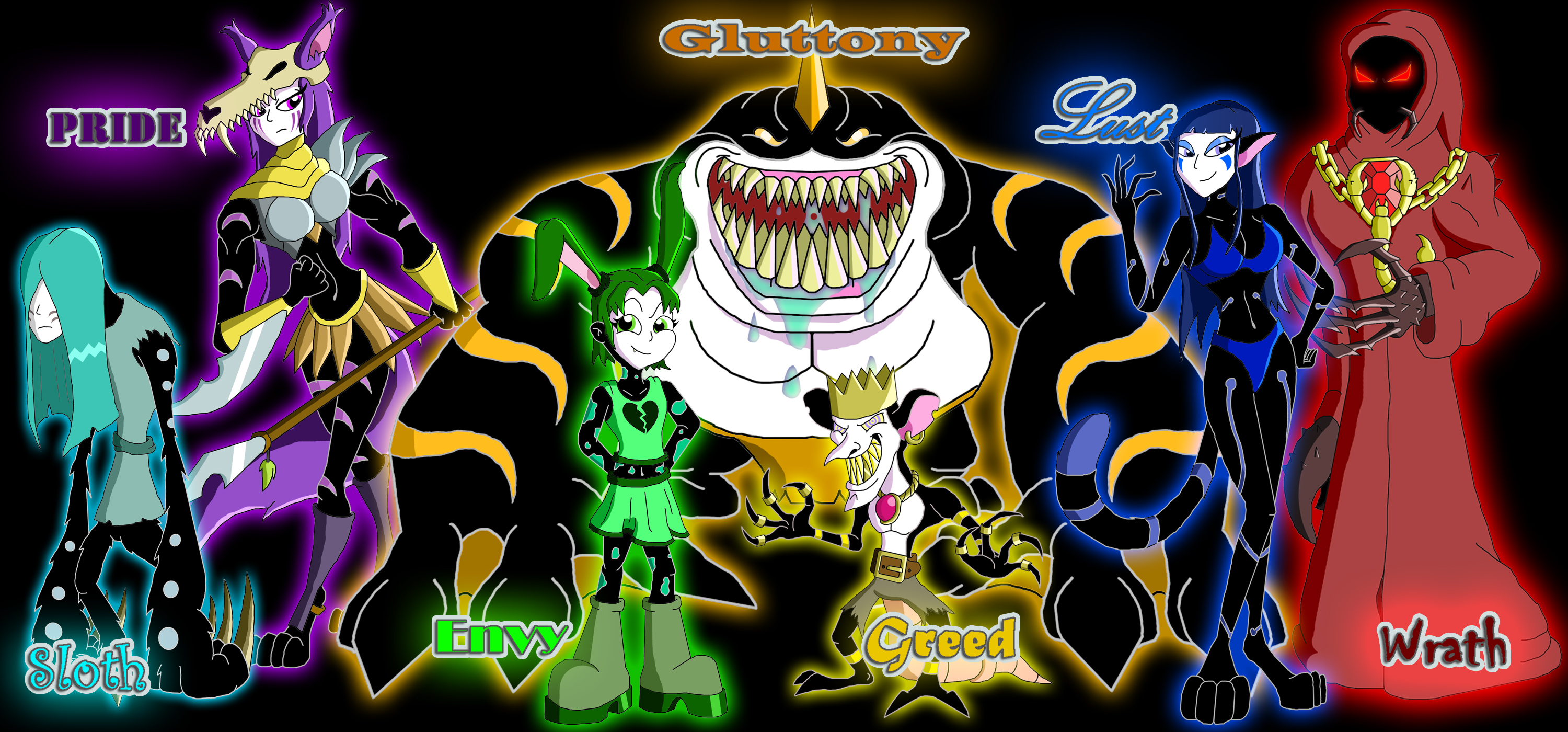 The 7 Deadly Sins by Moheart7 3000x1400
