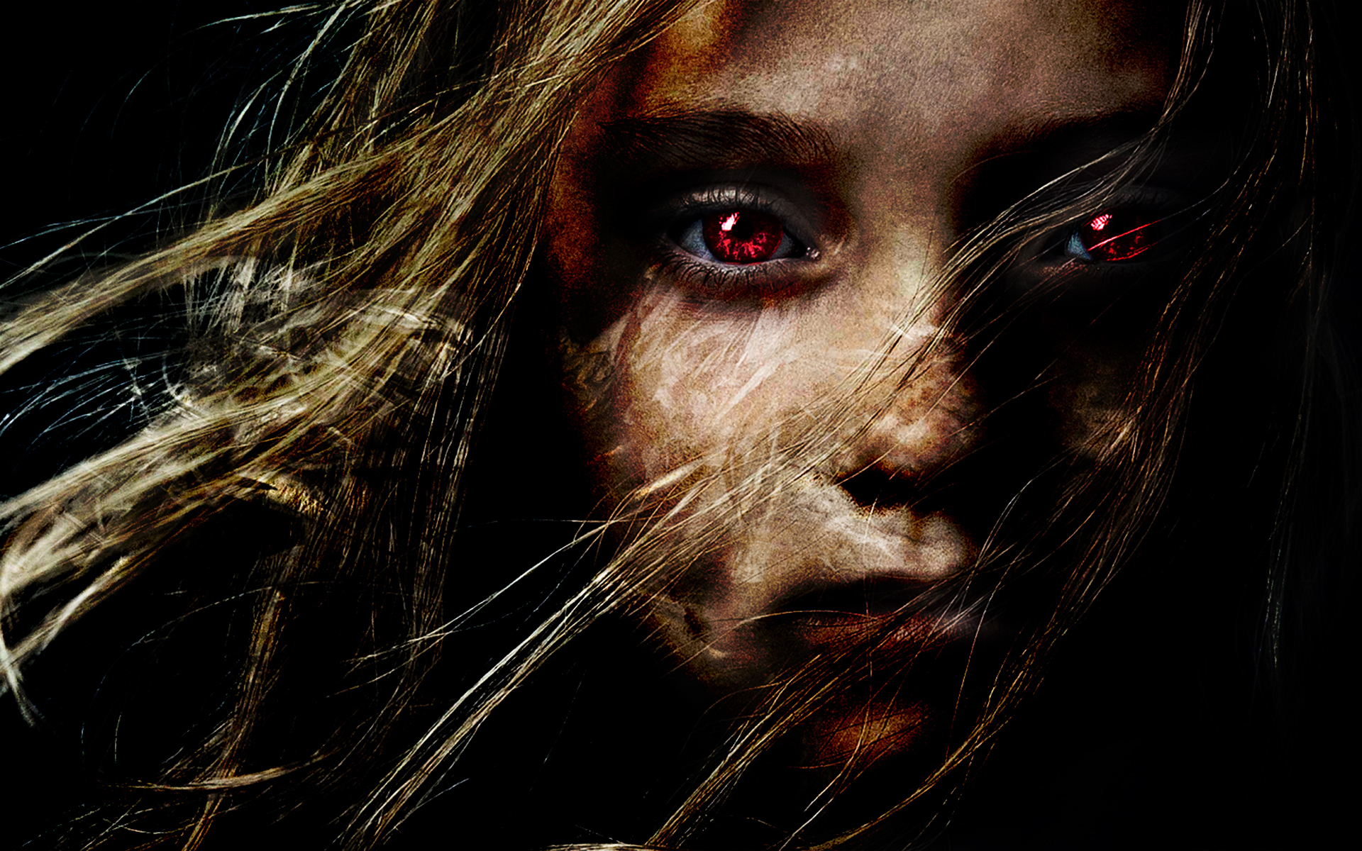 dark gothic horror scary creepy spooky demon evil face blonde women 1920x1200