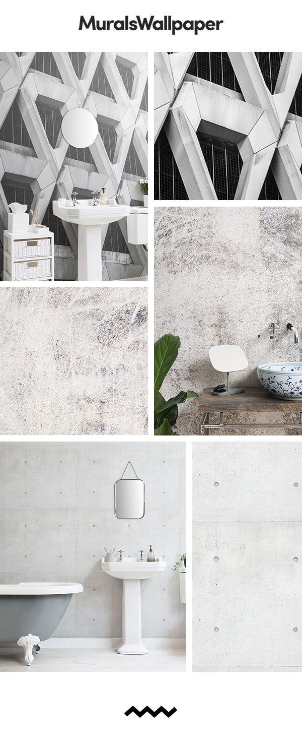 Grey Farmhouse Bathroom ideas created with rustic concrete effect 600x1482