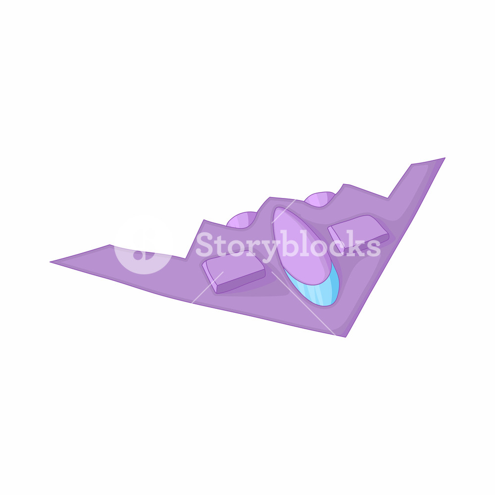Stealth bomber icon in cartoon style on a white background Royalty 1000x1000