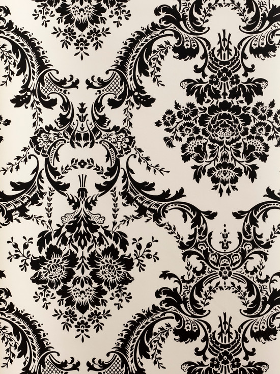 Black And White Damask Wallpaper Bolt   This wallcovering is packaged 550x734