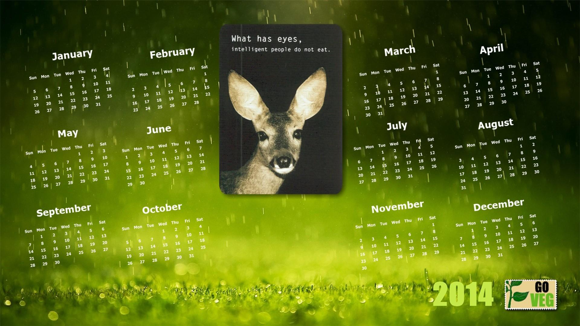 2014 Vegan Calendar wallpapers HD   401218 1920x1080
