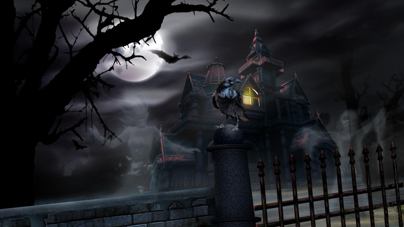 Halloween Haunted House Wallpapers HD 1366x768