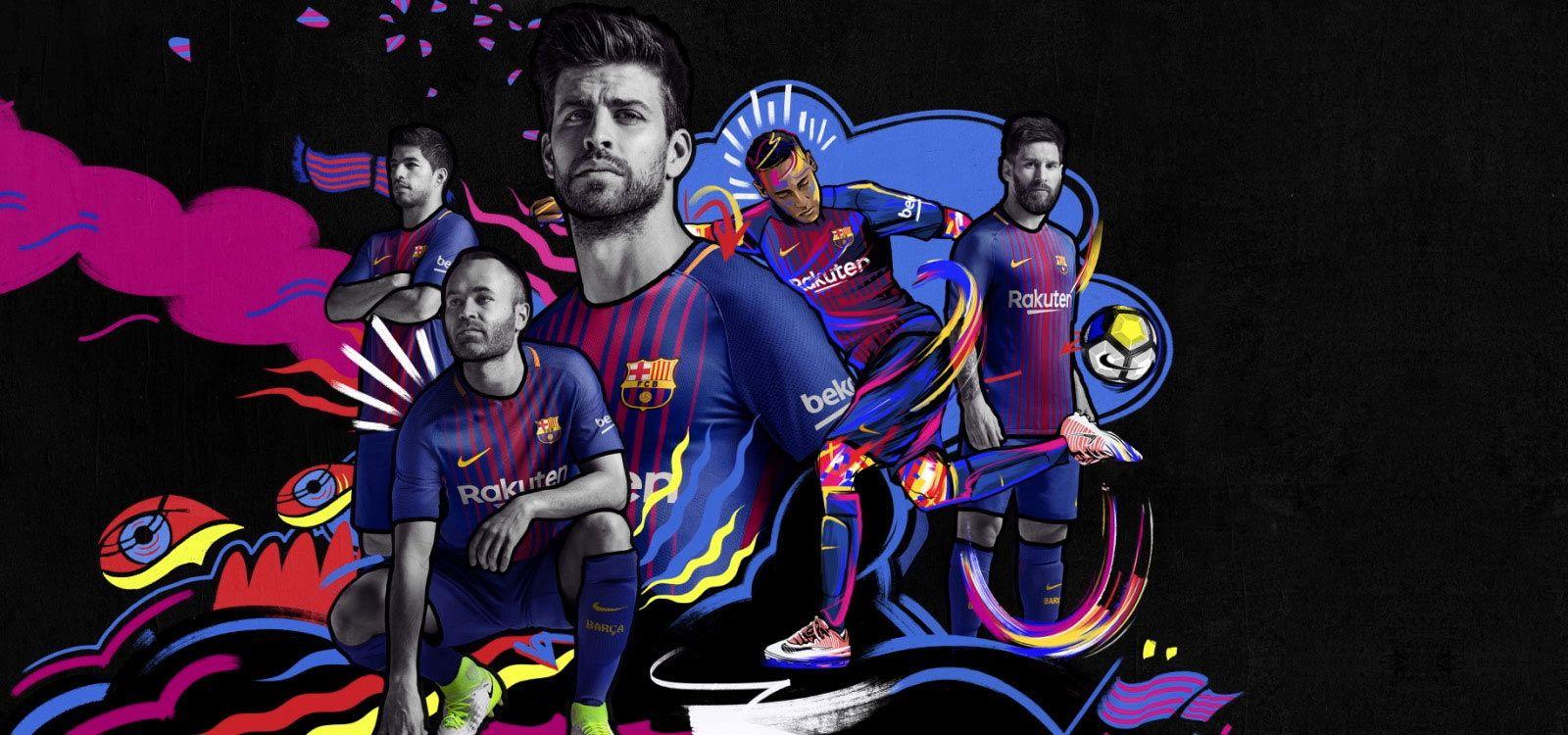 Camisas do FC Barcelona 2017 2018 Nike Mantos do Futebol 1600x750