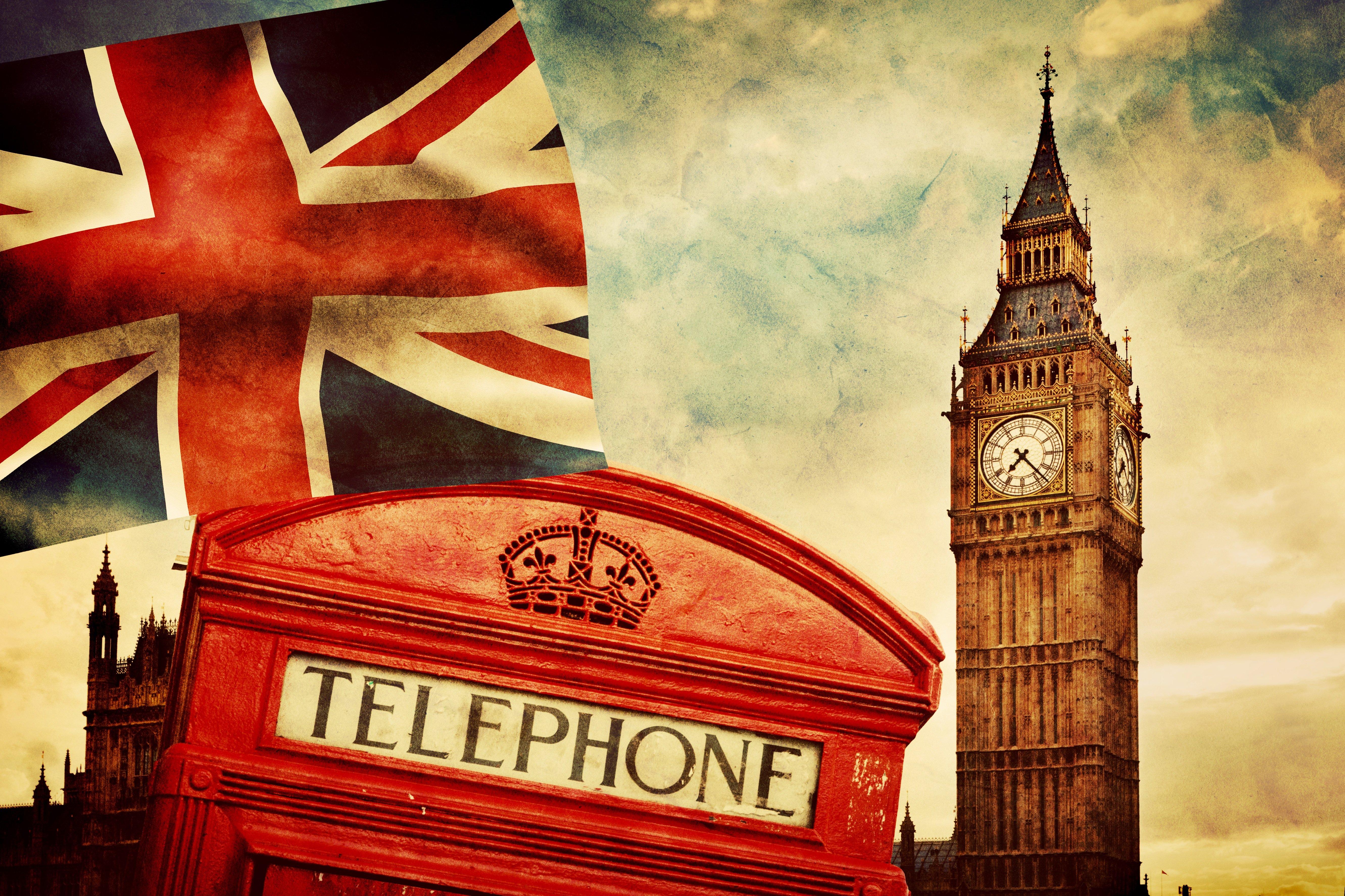 London, telephone, vintage, british flag, Big Ben :: Wallpapers