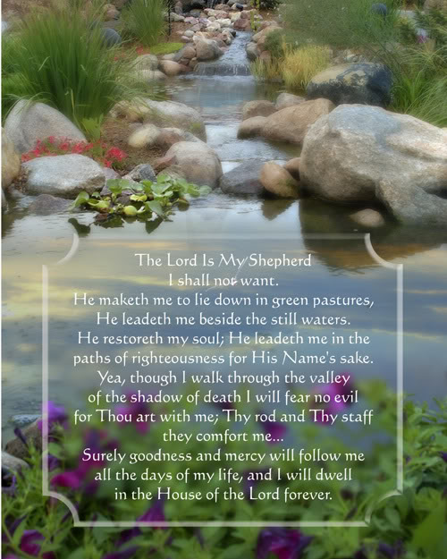Psalm 23 Verse with pondlakeand rocks background picture 500x625
