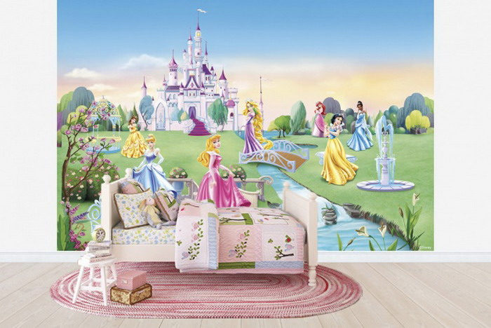 Wallpaper for children 39 s playroom wallpapersafari for Disney princess wall mural tesco
