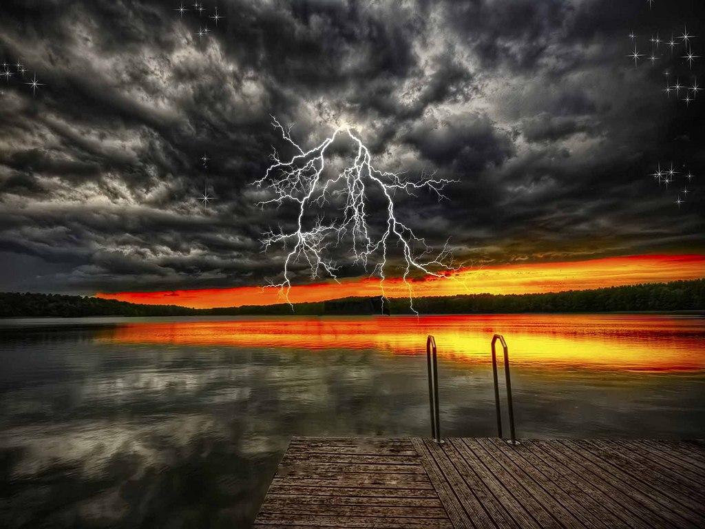 Thunderstorm Beach Wallpaper Thunderstorm on sunset sky 1024x768