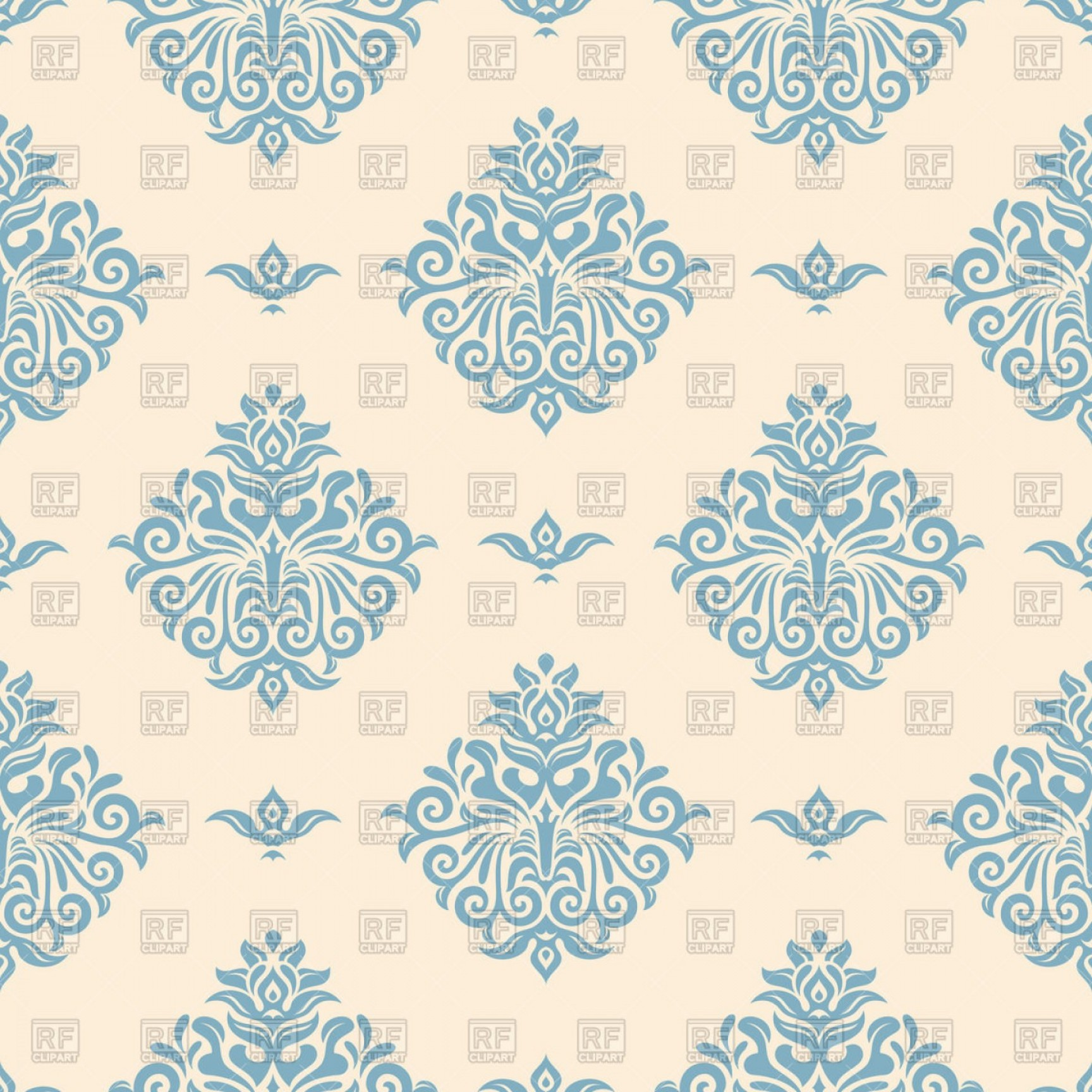 Blue Vintage Wallpaper With Victorian Ornament Vector Clipart 1728x1728