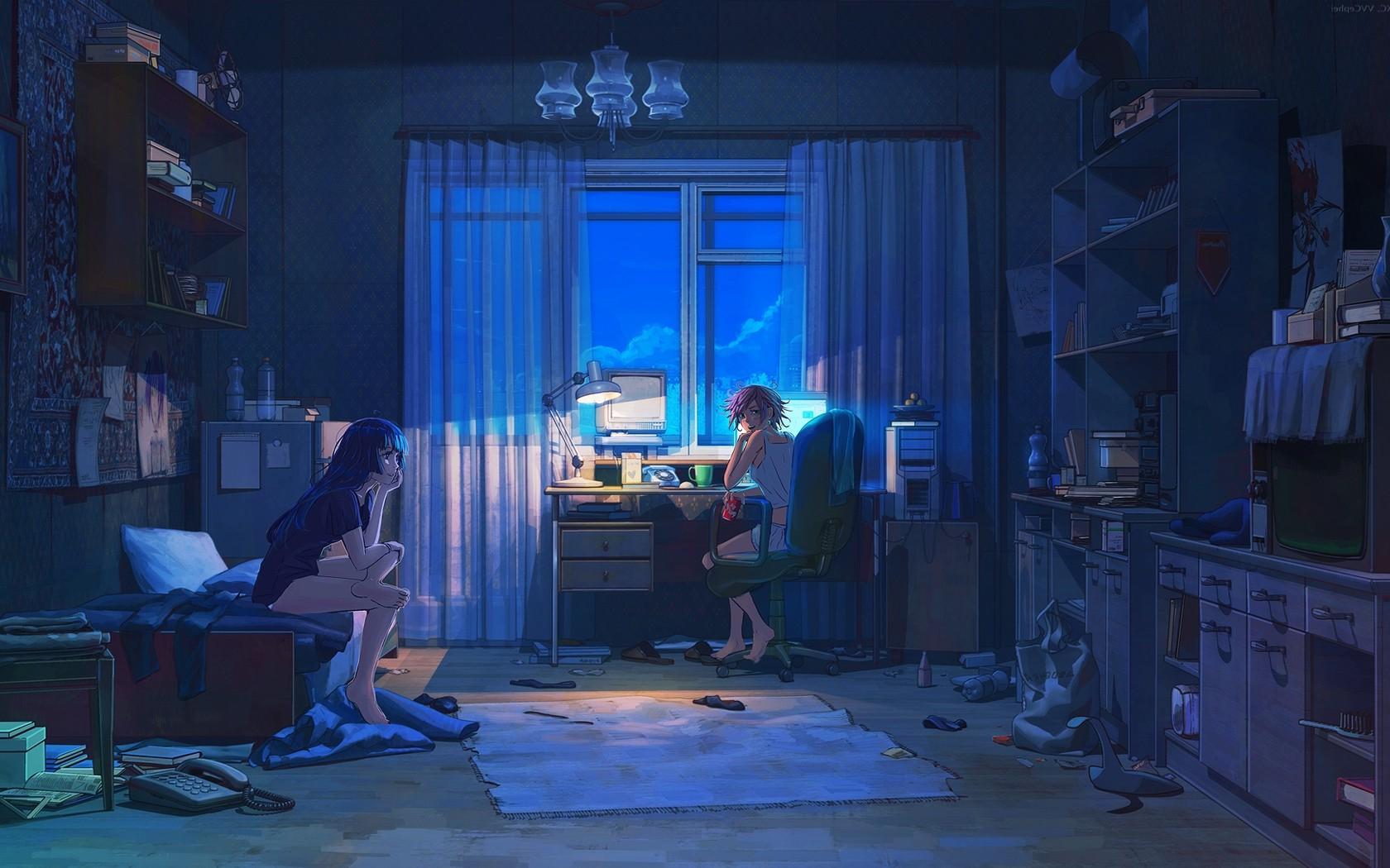 Art Girl Room Anime Hd Wallpaper Important Wallpapers 1680x1050