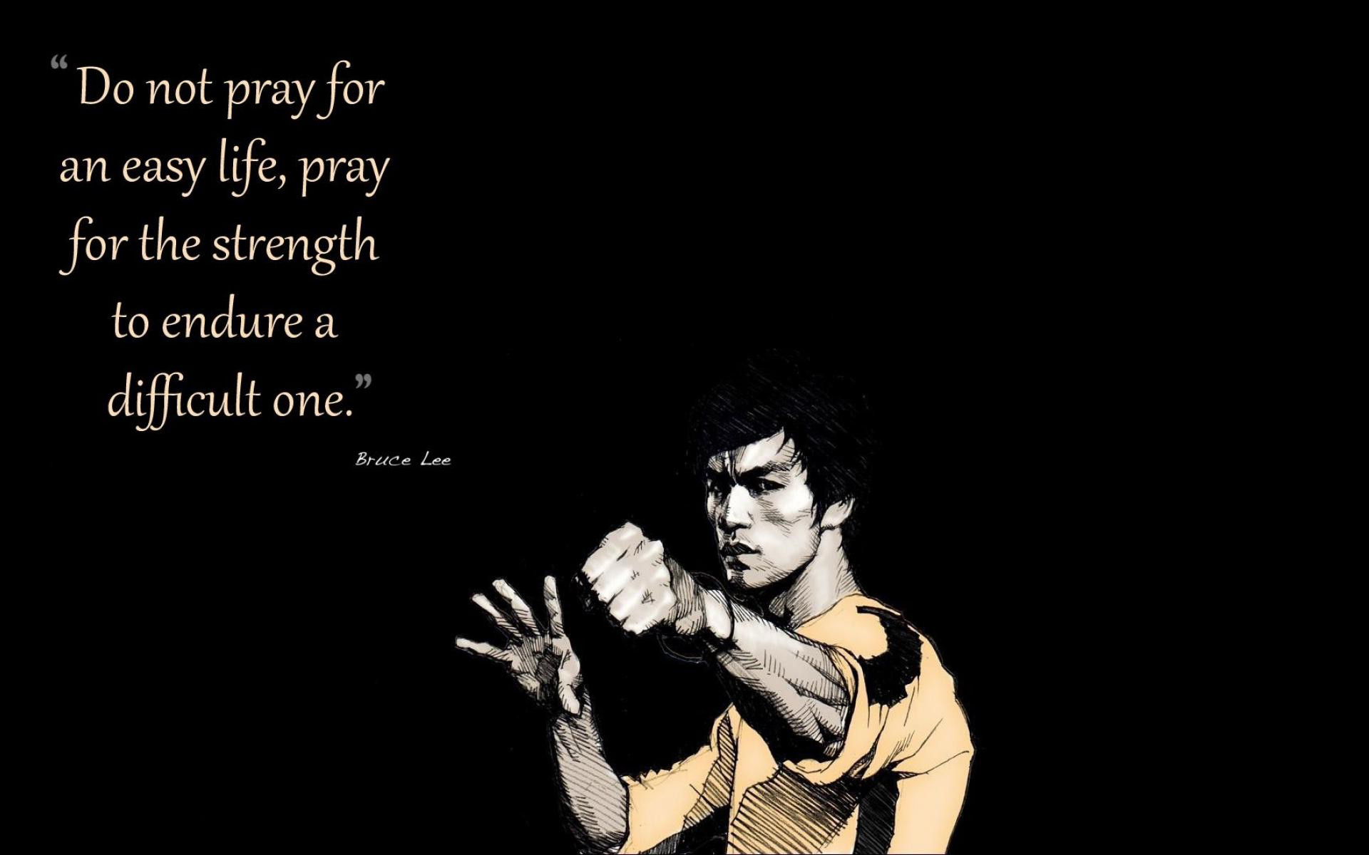 Bruce Lee Quotes Facebook Cover Wallpaper   Do Not Pray For Easy 1920x1200