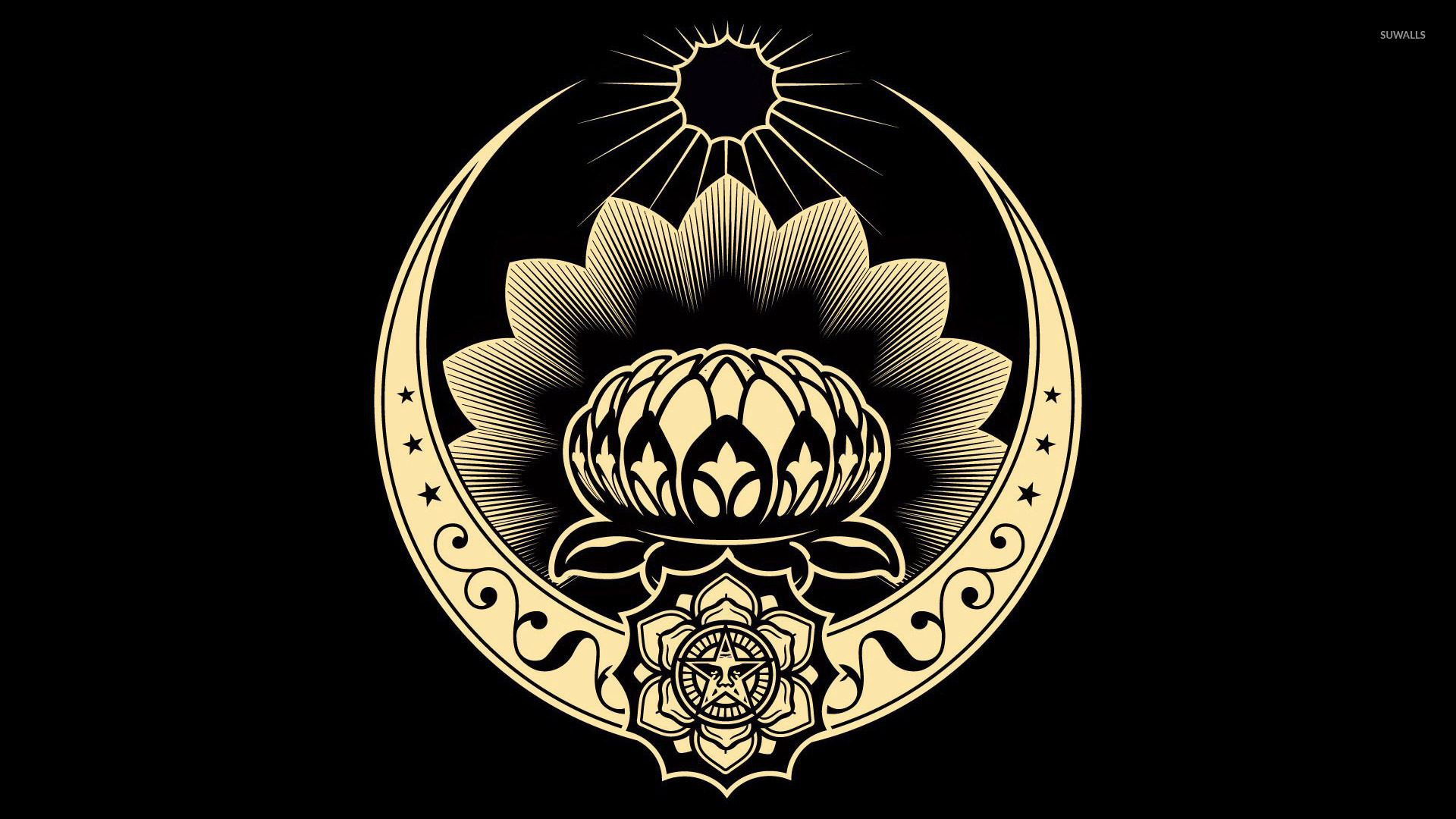 Obey Lotus Ornament HD wallpapers 1920x1080