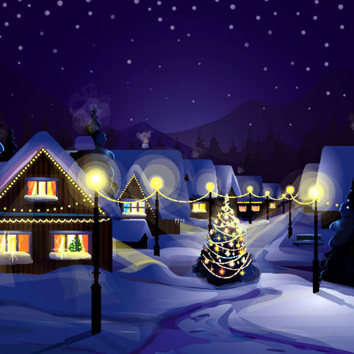 Vector Of Winter Landscape Wallpaper For iPad 2 500x500