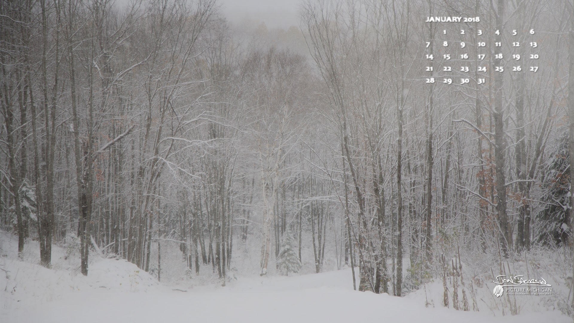 January 2018 Calendar Wallpapers 1920x1080