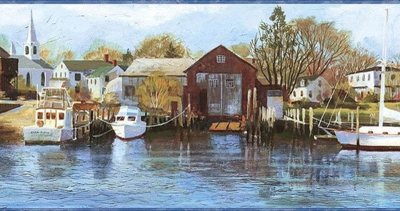 Northern Harbor Scenic Sea Wallpaper Border   Traditional   Wallpaper 560x296