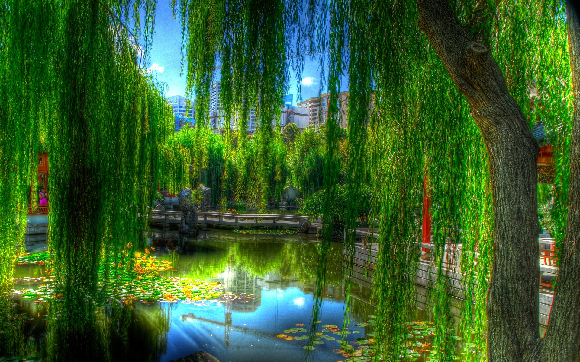 landscapes nature lakes asian oriental reflection trees green colors 1920x1200