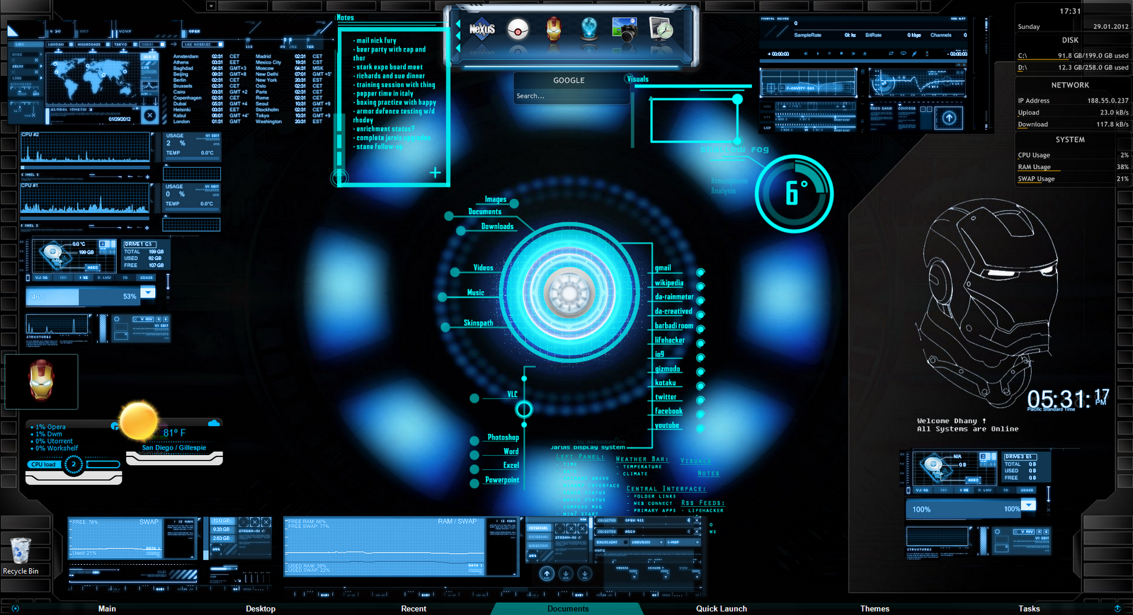 Iron Man Heads Up Display Wallpaper for Phones and Tablets 1600x869