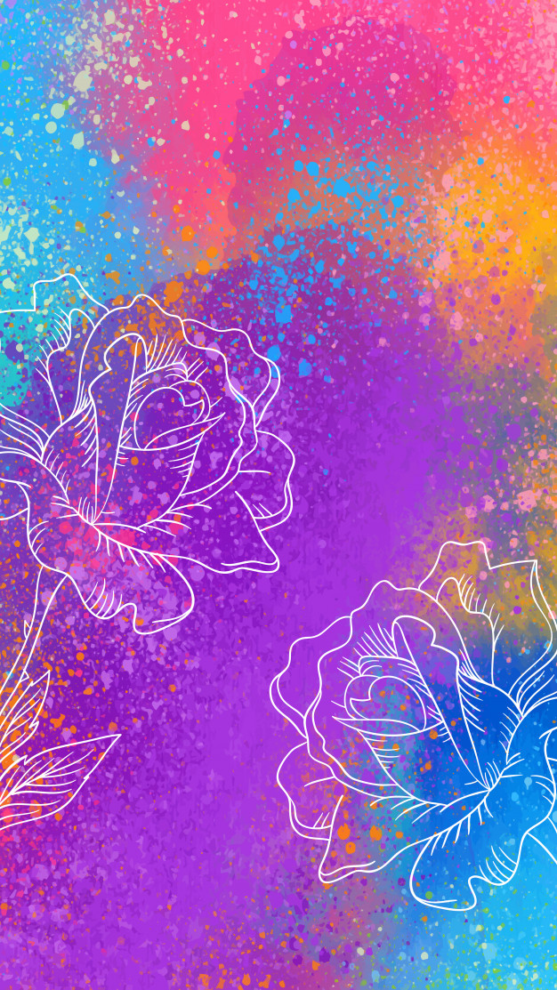 Vector Artistic mobile wallpaper with hand drawn roses 626x1113