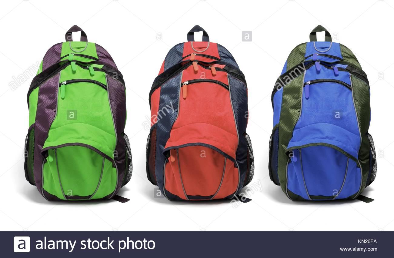 Backpacks on Isolated White Background Stock Photo 167850126   Alamy 1300x852