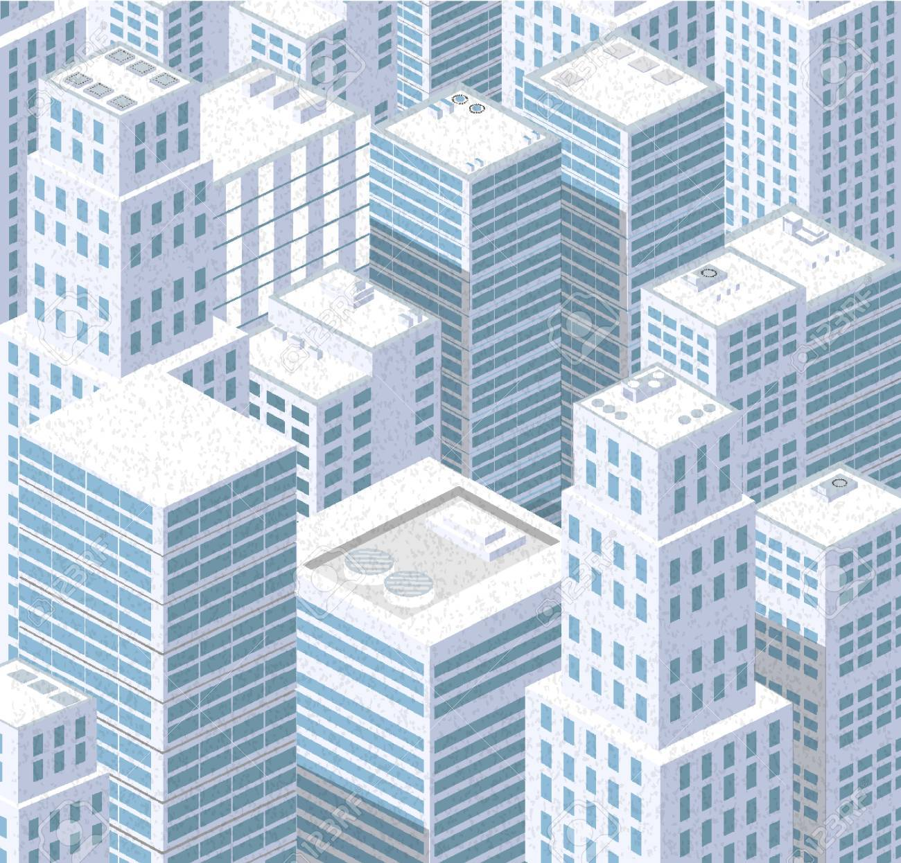 Isometric City Of Urban Rooftops Skyscrapers Background Royalty 1300x1246